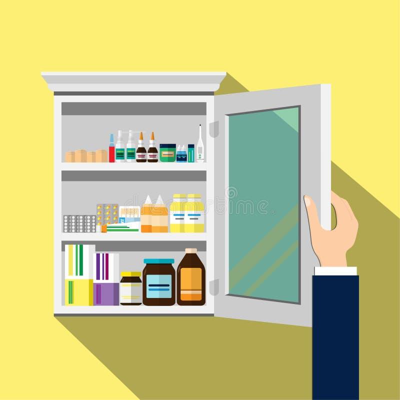 Abra o fundo de madeira branco do amarelo do armário de medicina Ilustração lisa do vetor ilustração royalty free
