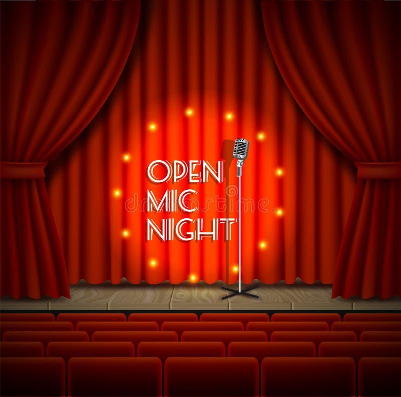 Abra o fundo do vetor do espetáculo ao vivo da noite do mic ilustração stock