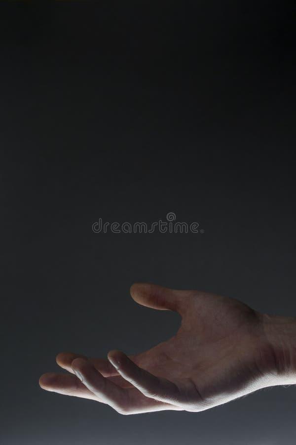 Abra o gesto de mão da palma da mão masculina imagens de stock