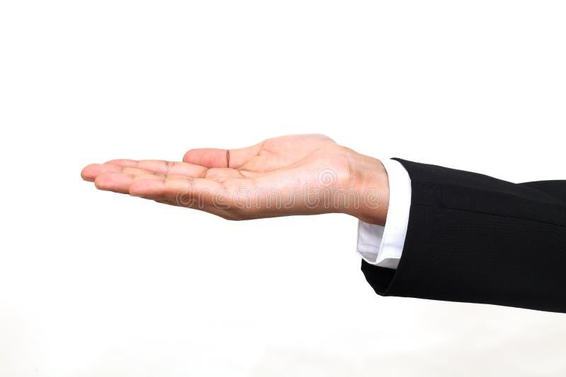 Abra o gesto de mão da palma da mulher de negócios foto de stock royalty free