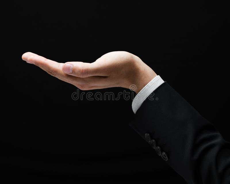 Abra o gesto de mão da palma do homem fotos de stock royalty free