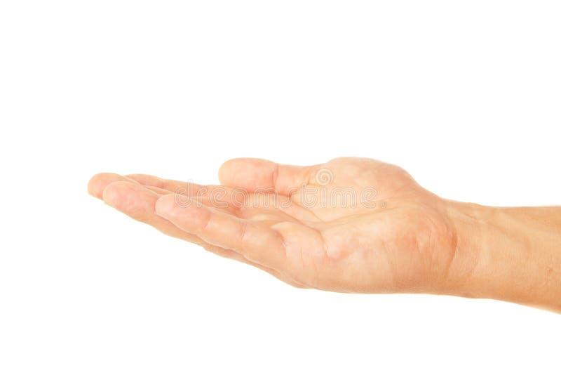 Abra o gesto de mão da palma do homem isolado no branco fotografia de stock