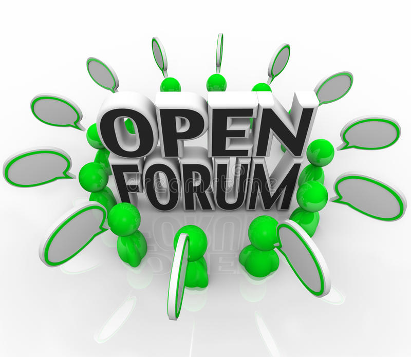 Abra o grupo de pessoas do fórum que discute falando perguntas ilustração stock