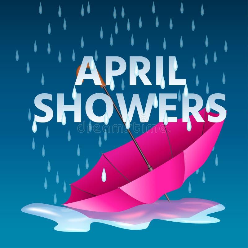 Abra o guarda-chuva cor-de-rosa nas poças com os chuveiros de abril da chuva e do texto ilustração do vetor