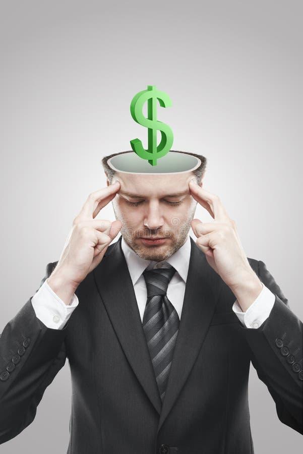 Abra o homem ocupado com sinal de dólar 3d verde para dentro fotografia de stock royalty free
