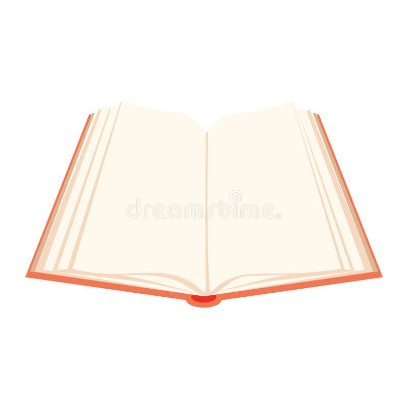 Abra o livro Livro aberto coberto vermelho com vibração das páginas ilustração do vetor