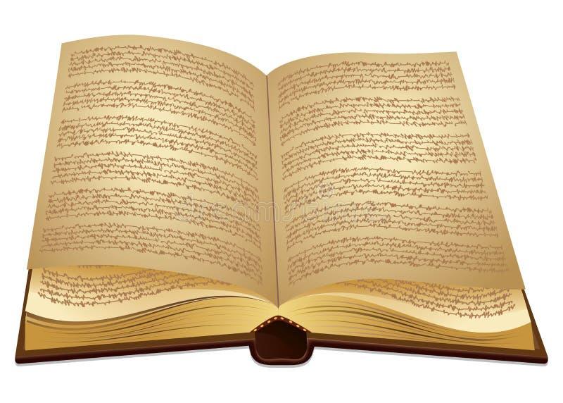 Abra o livro antigo ilustração do vetor