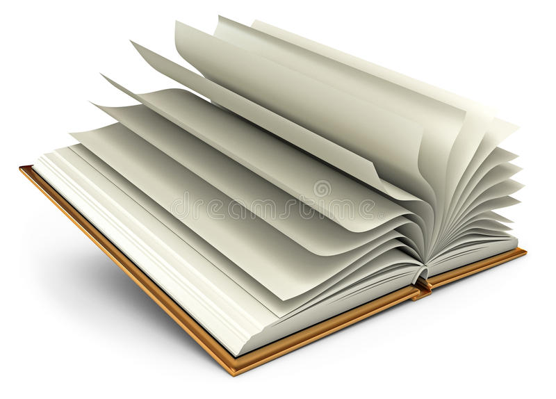 Abra o livro branco. Isolado no branco ilustração do vetor