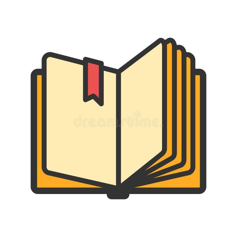 Abra o livro com ícone do marcador da fita ilustração stock