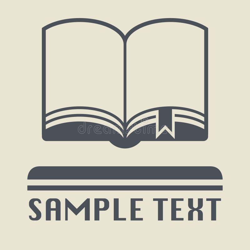 Abra o livro com ícone ou sinal do marcador ilustração stock