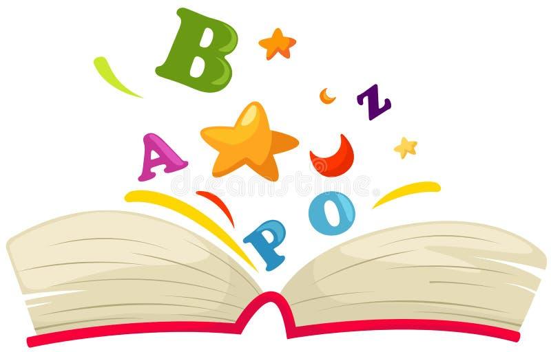 Abra o livro com alfabeto ilustração do vetor