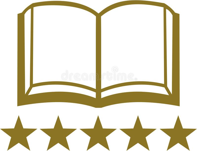 Abra o livro com as cinco estrelas douradas ilustração do vetor