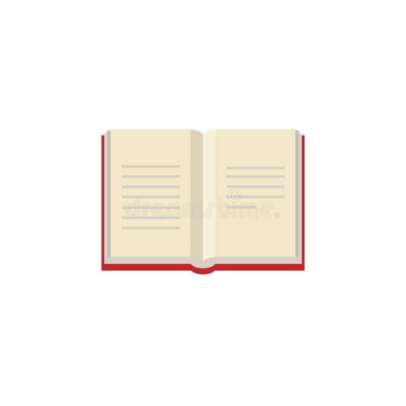 Abra o livro com bookcover vermelho Ícone liso isolado no fundo branco Ícone liso ilustração royalty free