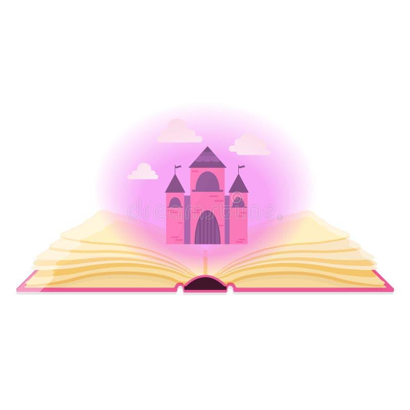 Abra o livro com o castelo mágico da poeira e da fada ilustração do vetor