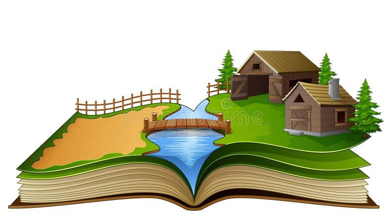 Abra o livro com cena, celeiro e árvores da exploração agrícola em um fundo branco ilustração do vetor