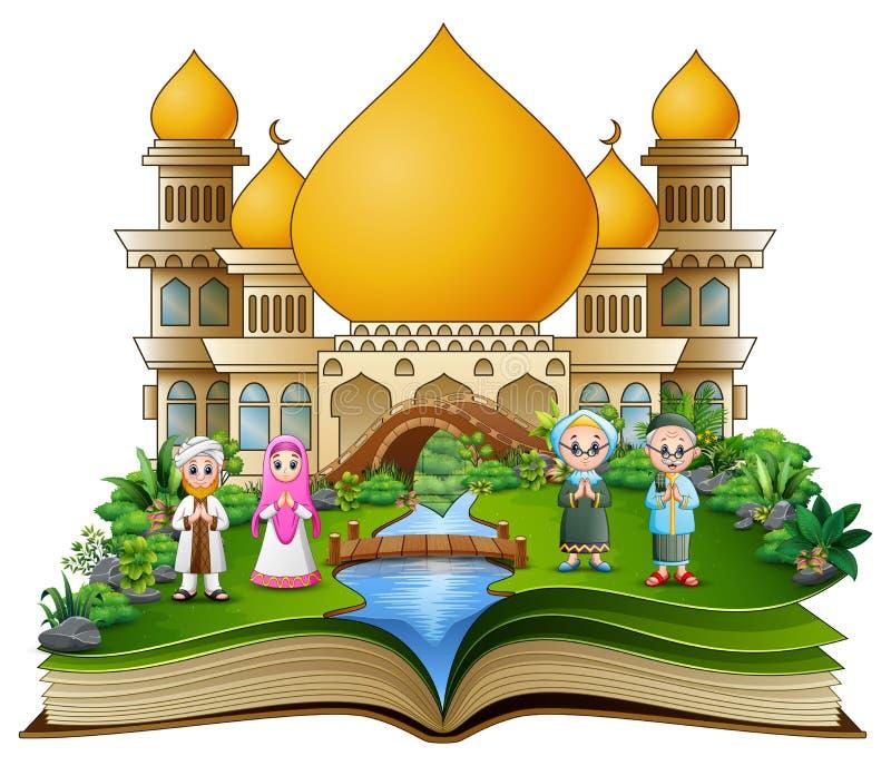 Abra o livro com cumprimento muçulmano feliz da família na frente de uma mesquita ilustração royalty free