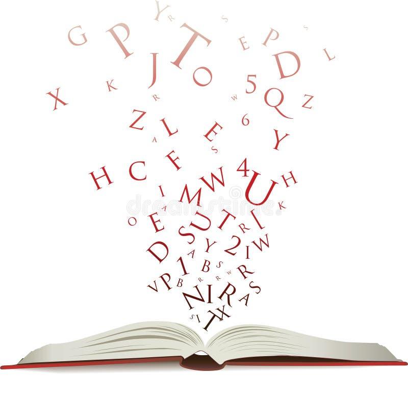 Abra o livro com letras ilustração do vetor
