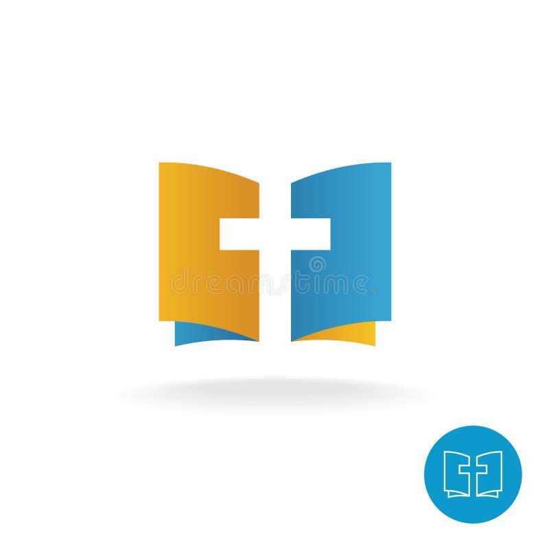 Abra o livro com logotipo do símbolo da cruz da religião ilustração stock