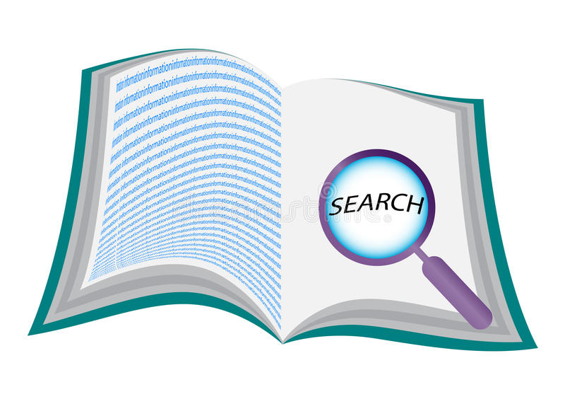 Abra o livro com lupa ilustração do vetor