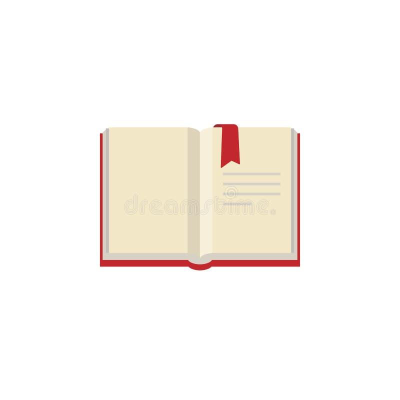 Abra o livro com o marcador vermelho do bookcover e da fita ilustração stock