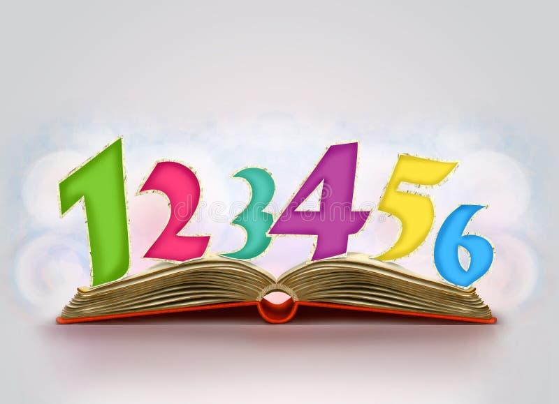 Abra o livro com números nele ilustração royalty free