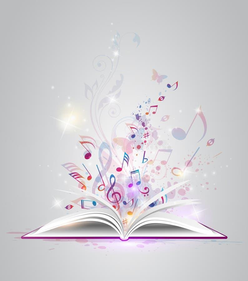 Abra o livro com notas ilustração royalty free