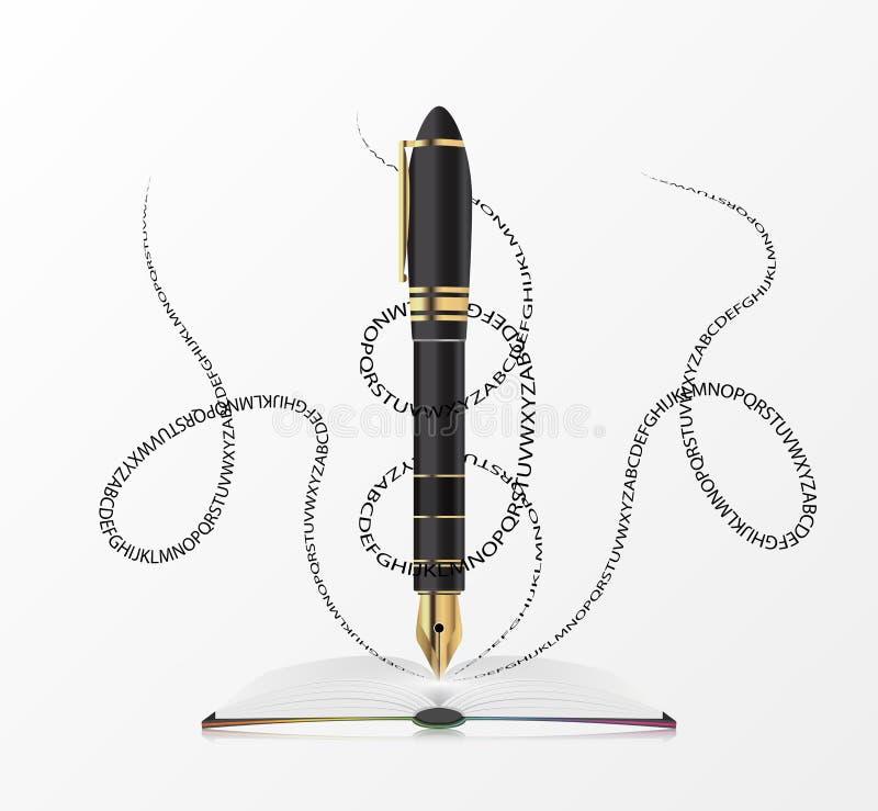 Abra o livro com pena Projeto creativo Vetor ilustração do vetor