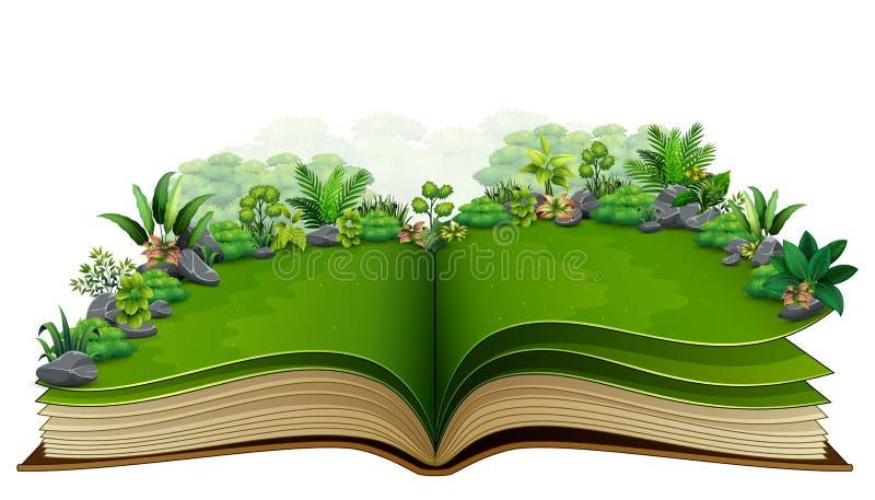 Abra o livro com a planta verde do fundo da natureza ilustração royalty free