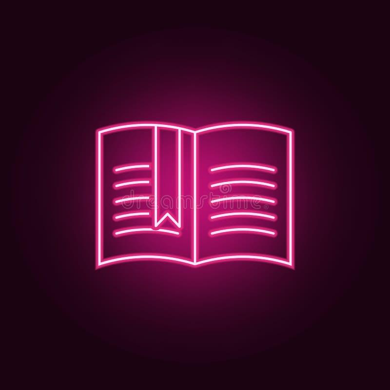Abra o livro com um ícone do marcador Elementos dos livros e dos compartimentos nos ícones de néon do estilo Ícone simples para W ilustração royalty free