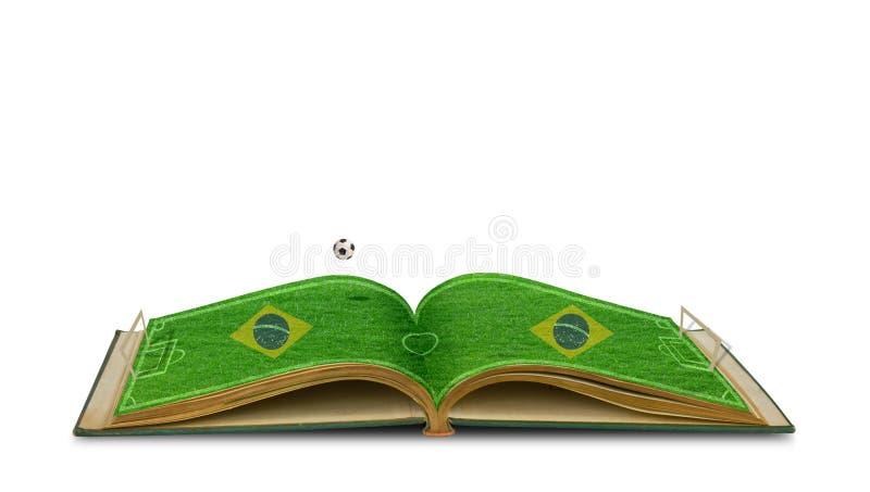 Abra o livro da grama verde do estádio de futebol com futebol fotografia de stock royalty free