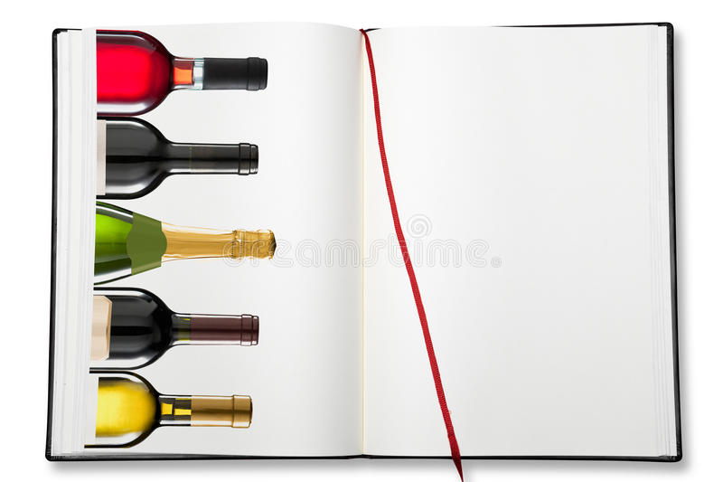 Abra o livro de exercício vazio (a carta de vinhos) fotos de stock royalty free
