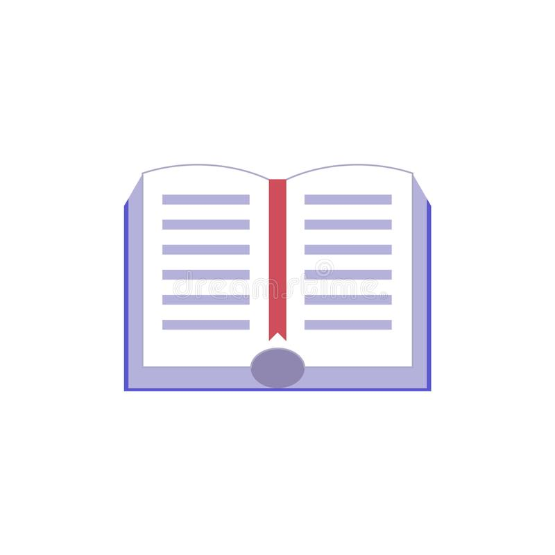 Abra o livro de papel com ícone liso da capa dura e do marcador vermelho ilustração stock