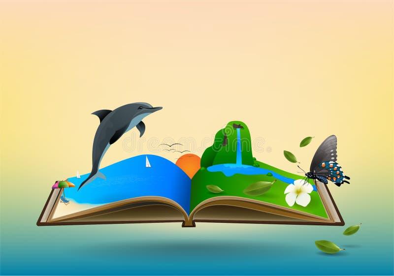 Abra o livro do curso ilustração stock