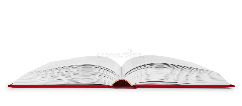 Abra o livro em uma tampa vermelha fotografia de stock
