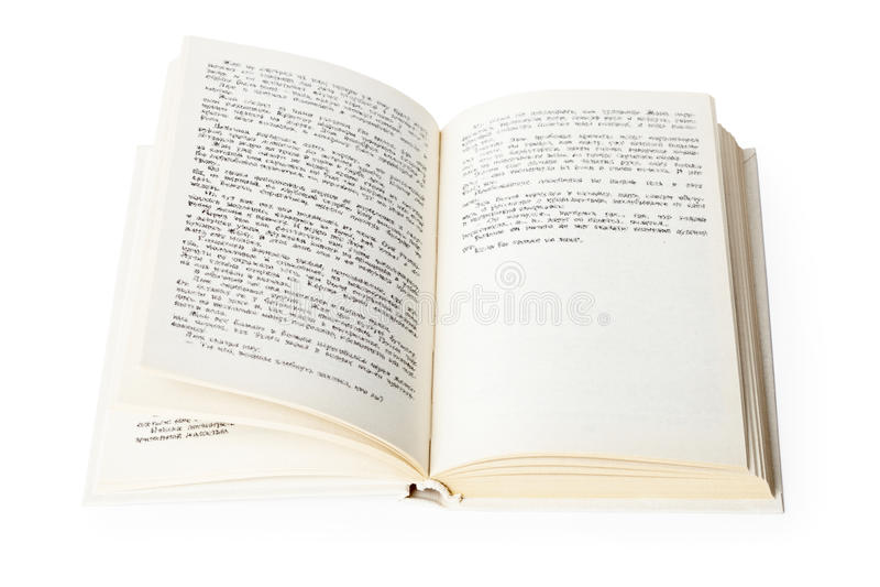 Abra o livro no fundo branco fotos de stock