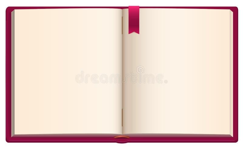 Abra o livro vazio com o marcador vermelho da fita ilustração do vetor