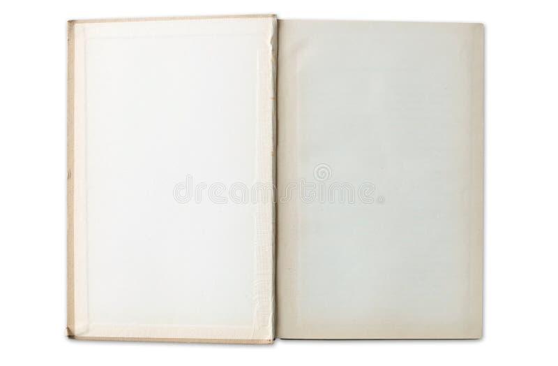 Abra o livro velho com as páginas vazias isoladas no branco imagens de stock