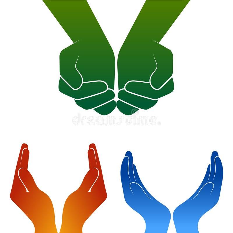 Abra o logotipo da silhueta das mãos no branco ilustração royalty free