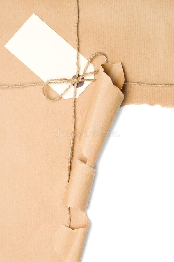 Abra o pacote com etiqueta fotos de stock