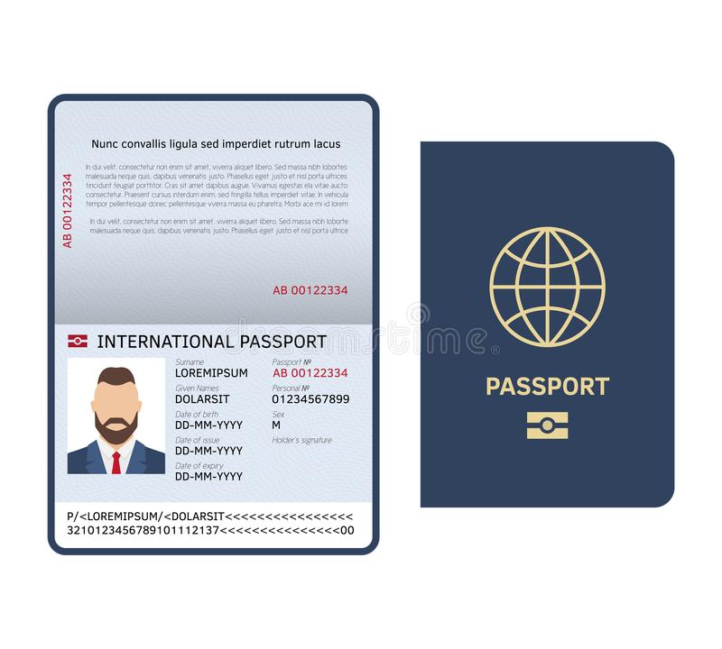 Abra o passaporte Da amostra legal masculina da página da foto do documento da identificação molde internacional do vetor do pass ilustração do vetor