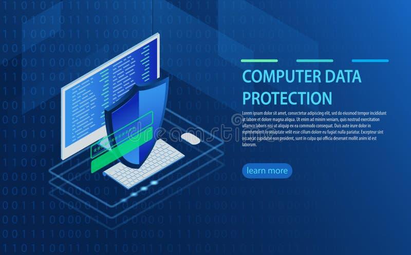 Abra o portátil com formulário na tela, proteção de dados pessoal da autorização ilustração do vetor