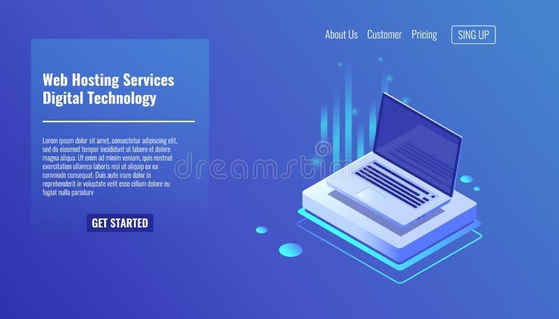 Abra o portátil, conceito de serviços do alojamento web, ilustração isométrica 3d do vetor da informática  ilustração royalty free