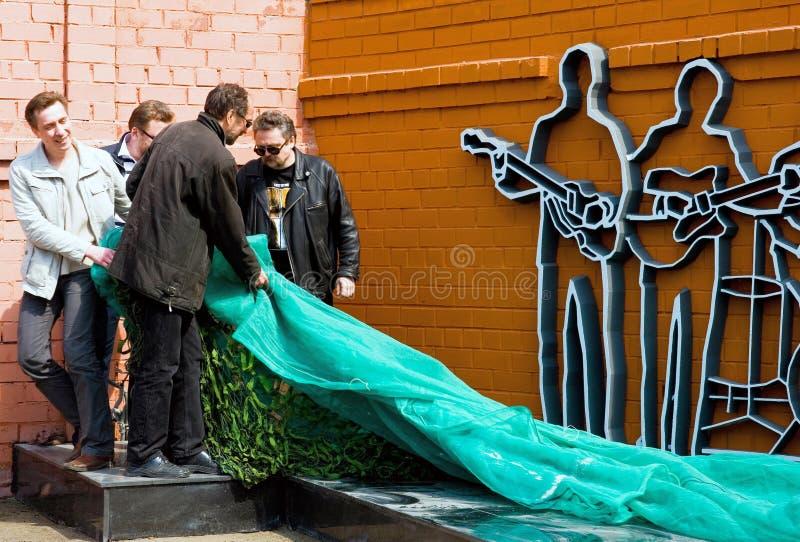 Abra o primeiro monumento o Beatles em Rússia fotografia de stock