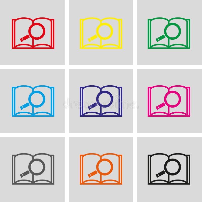 Abra o projeto liso da ilustração do vetor do estoque do ícone do livro e da busca ilustração royalty free