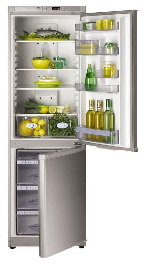 Abra o refrigerador imagens de stock