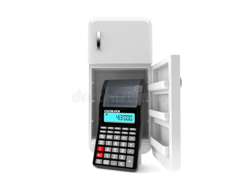 Abra o refrigerador com calculadora ilustração do vetor