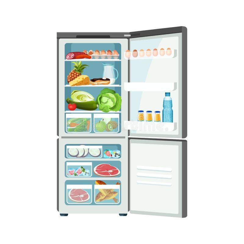 Abra o refrigerador com os produtos isolados na bandeira branca da cor ilustração do vetor