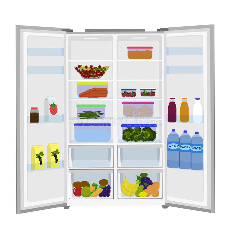 Abra o refrigerador completamente de frutas e legumes frescas ilustração royalty free