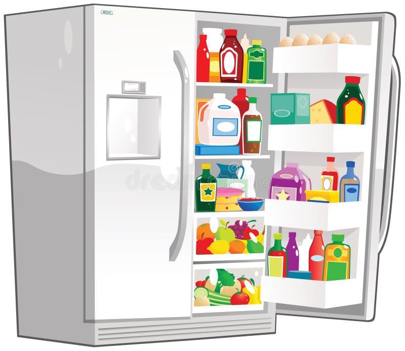 Abra o refrigerador dobro da largura ilustração stock