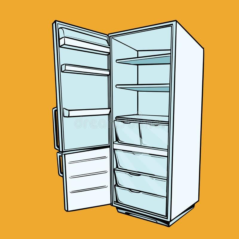 Abra o refrigerador vazio ilustração royalty free